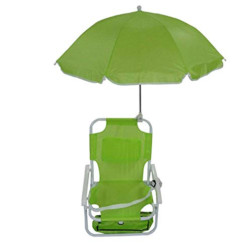 MTPLUM Beach Baby Umbrella Chair Portable Folding Kids Chair Children's Outing Leisure with Umbrellas Seaside Holiday Outdoor Camping (Green)