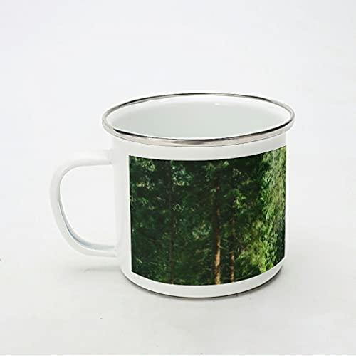 KittyliNO5 Taza esmaltada natural, verde, bosque, paisaje y bosque, reutilizable y portátil, taza de café, té para camping y trekking, color blanco, 350 ml