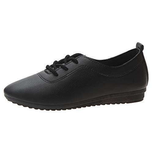Sillor Lederschuhe Damen Casual Einfarbig Wild Lace-Up Einzelne Schuhe Bequem Flache Schuhe Geeignet für die tägliche Kollokation, Arbeit