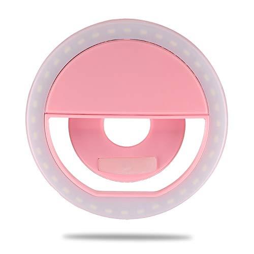 HFMY Selfie Licht,Selfie Licht Handy,Ringlicht Handy,LED Ringleuchte mit 3 Stuff Helligkeit,USB Wiederaufladbar Selfie Ring Licht für Alle Handy/Tablet und Fotos
