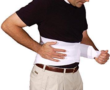 Alpha Medical 10' Vented Lumbosacral Support Elastic Back Brace for Lower Back (Small, White)