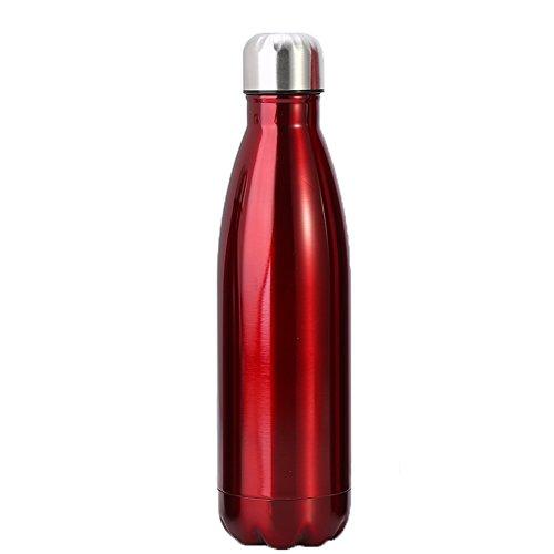 Bouteille d'eau isotherme en acier inoxydable, anti-fuite en forme de cola pour camping, randonnée, cyclisme, pique-nique (capacité : 1000 ml, couleur : rouge)