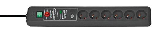 Brennenstuhl 1159541376Tec Messerblock 6-fach mit Überspannungsschutz 15.000A Signalton schwarz