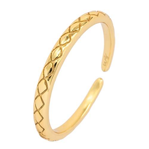 WILD SUN Dünner Ring Gold Damen I Schlichter Verstellbarer & Ausgefallener Minimalist Stacking Damenring Schmal I Hochwertiger Goldring aus 925 Silber mit 18K vergoldet