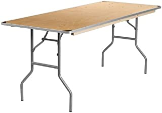 Flash Furniture 30'' x 72'' Rectangular HEAVY DUTY Birchwood Folding Banquet Table with METAL Edges and Protective Corner Guards