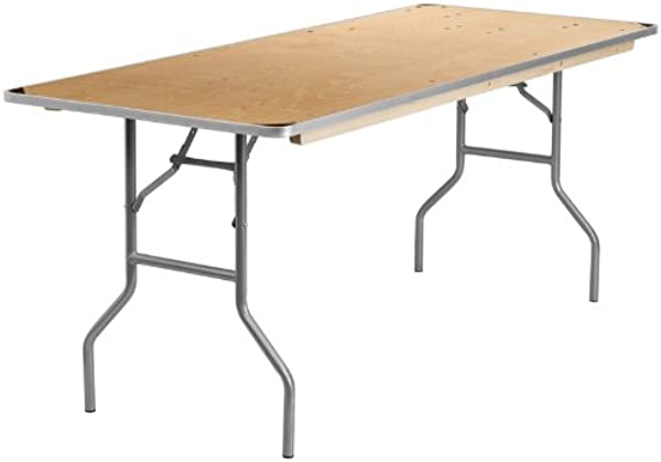 Flash Furniture 30 X 72 Rectangular HEAVY DUTY Birchwood Folding Banquet Table With METAL Edges And Protective Corner Guards
