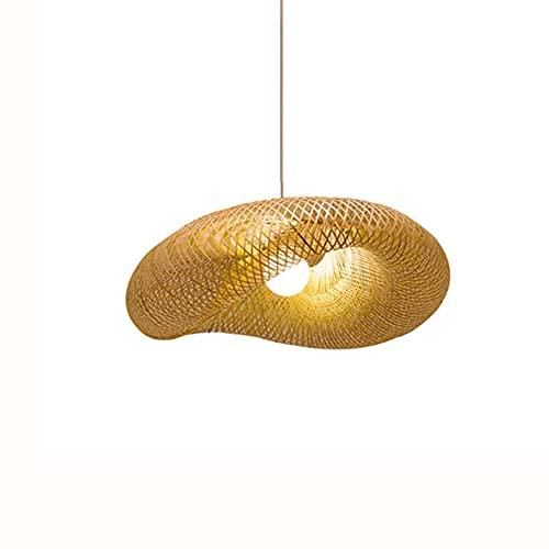 KAIKEA Estilo japonés E27 Portalámparas Araña de bambú de una sola cabeza Moderno Minimalista Hecho a mano Pantalla de mimbre de bambú Diseño creativo Restaurante Bar Decoración Lámpara colgante Pasil