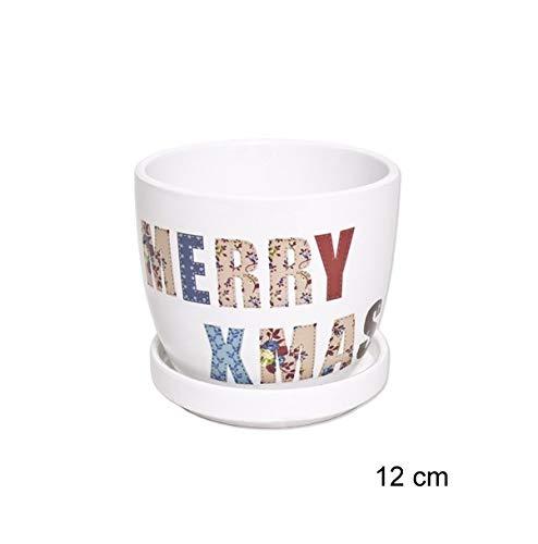 Casa y Menaje Macetero cerámica Blanco Navidad 12cm Merry Christmas Xmas