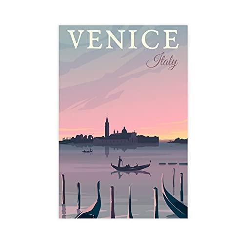 Venedig Reise-Poster Natur Vintage Reise Weltstadtkarten Retro Reise Italien Karte Leinwand Poster Schlafzimmer Dekor Pop Art Büro Raumdekor Geschenk Ungerahmt: 50 × 75 cm