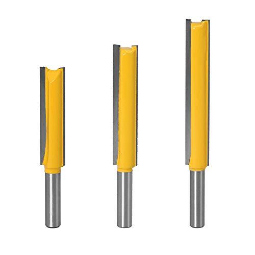 Gasea 3pcs 8mm Flush Trim Router Bits Extra Long Mèches Carbide Router Bits à Bois Fraise à Menuiserie Outil de Woodworking Cutter Lame 50mm 63mm 76mm