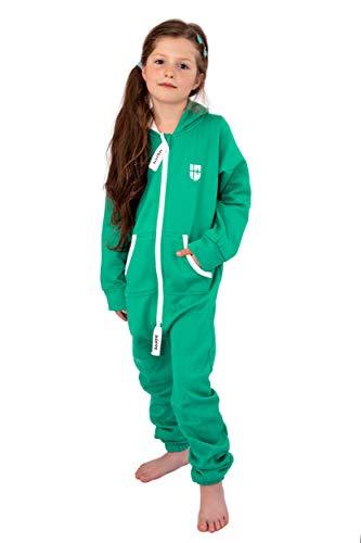 Gennadi Hoppe Kinder Jumpsuit Overall Jogger Trainingsanzug Mädchen Anzug Jungen Onesie,grün,12-13 Jahre