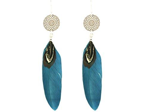 Gemshine - Ohrringe - Traumfänger - 925 Silber - Boho - Blau - Petrol - Feder - 9 cm