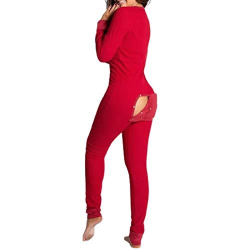 Yagerod Mono De Pijama De Mujer Onesies, Mono Sexy con Solapa a Tope, Mono De Pijama Estampado De Manga Larga, Ropa De Dormir para Adultos A-Red M