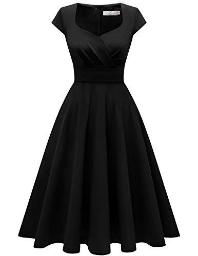 Homrain Donna Annata 1950 retrò Rockabilly Vestito cap Sleeves Audrey Swing Abito da Cocktail Partito Black XS