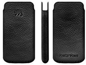 Katinkas USA 2108043639 Leather Pouch Soft - EVO 3D, Sensation, LG P990, Nokia E7, Galaxy S2 i9100, Arc Xperia X12-1 Pack - Retail Packaging - Black