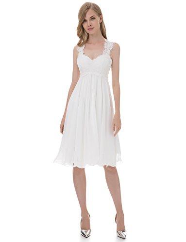Erosebridal Boho Style Lace Chiffon Prom Dress Party Gowns Long Second Wedding Dresses Size 8 White