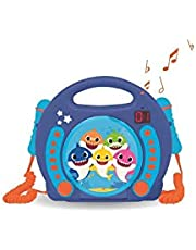 LEXIBOOK- Baby Shark Nickelodeon-Reproductor CD Karaoke con 2 micrófonos Integrados, programación, Toma de Auriculares, para niños, AC o Funciona con batería, Azul/Naranja