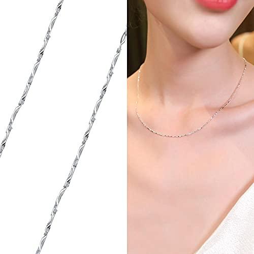 WQZYY&ASDCD Collar De Mujer Collar De Plata De Ley 925 Minimalista Clásico, Accesorios De Moda para Mujer, Cadena Ajustable-Vert_Noirâtre_45Cm_Ordinary