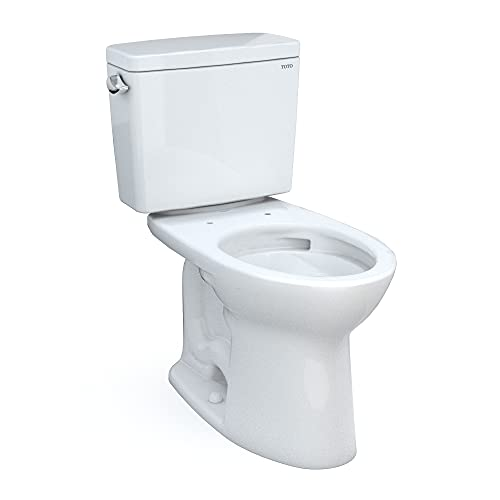 TOTO Drake Two-Piece Elongated 1.6 GPF Universal Height TORNADO FLUSH Toilet with CEFIONTECT, Cotton White - CST776CSFG#01
