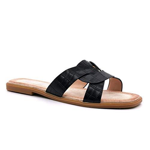 Angkorly - Damen Schuhe Schuh-Mule Sandalen - Flache - Strand - Step - Pythonschlangenhauteffekt - gekreuzte Riemen - Tierdruck Animal-Print Blockabsatz 1.5 cm - Schwarz 4 GQ23 T 39