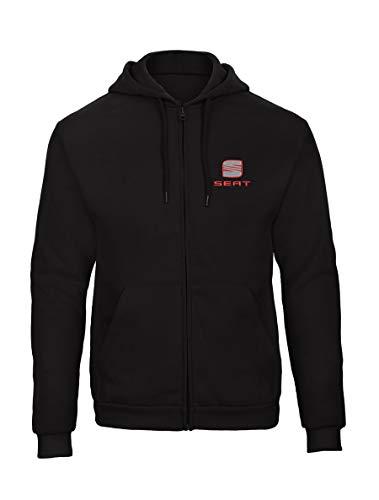 SEAT Fun Bestickte Logo Sweatjacken Kapuzenpullover mit Reißverschluss Premium Qualität - 9117 - SW (L)