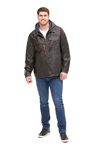 Levi's Men's Tall Vintage Deer Faux Leather Sherpa Lined Trucker Hooded Jacket, Dark Brown, 5X Big