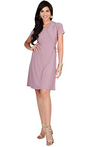 KOH KOH Womens Cute Casual V-Neck Wrap Short Sleeve Work Knee Length Midi Dress