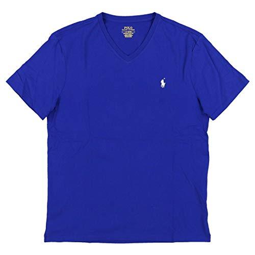 Polo Ralph Lauren Mens Custom Slim Fit V-Neck T-Shirt (Large, BlueWhite Pony)