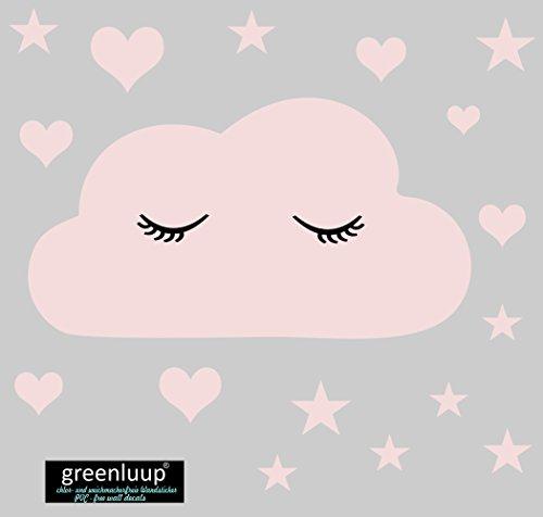 greenluup Öko Wandsticker Wandaufkleber Wandtattoo schlafende Wolke mit Wimpern Sterne Herzen in Rosa Weiß (Baby Wolke Rosa)