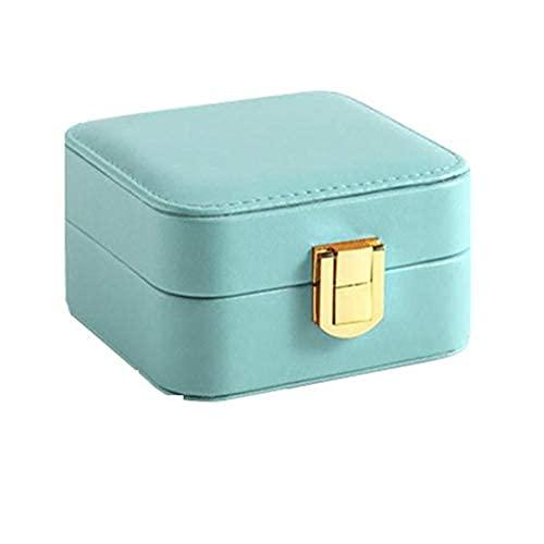 Scatola anello di stoccaggio della scatola dei gioielli, scatola di gioielli in pelle multifunzione, scatola di stoccaggio quadrata portatile, scatola di gioielli da viaggio, con specchio