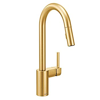 Moen 7565BG Align One-Handle Modern Kitchen Pulldown Faucet with Reflex and Power Clean Spray Technology Brushed Gold