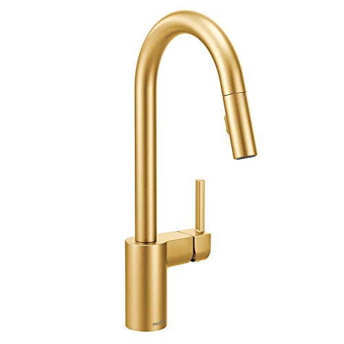 Moen 7565BG Align One-Handle Modern Kitchen Pulldown Faucet with Reflex and Power Clean Spray Technology, Brushed Gold