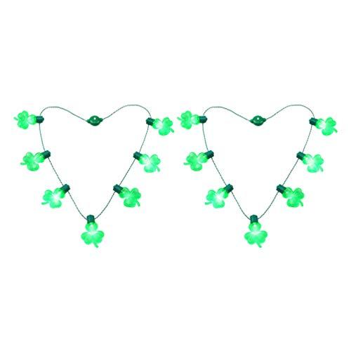 Amosfun 2 Stück St. Patricks Tageshalsketten Führten Helle Halskettengrünklee-Schnurverzierungen für Partyfestival-Feiertagsdekorationen