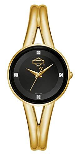 Harley-Davidson Women's B&S Logo Gold-Tone Diamond Stainless Steel Watch 77P100
