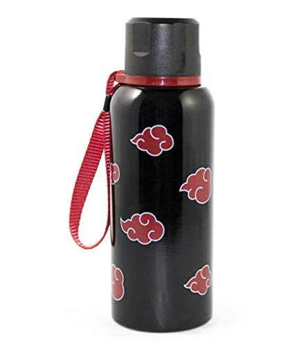 Naruto Water Bottle, Black colored Stainless Steel w/ Clouds pattern Water Bottle, 17oz
