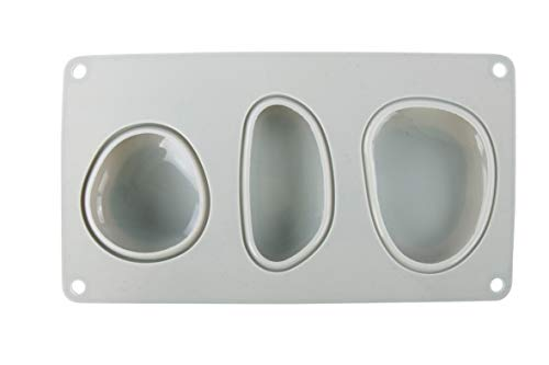 Rayher 36107000 Stampo in Silicone, 14.5 x 26 cm, Spessore 3.5 cm, 3 Forme Diverse di Sassi Grandi, Creazioni Fai Da Te, Riempire con Cemento Creativo, Gesso, Raysin, Polvere Ceramica, Cera, Sapone