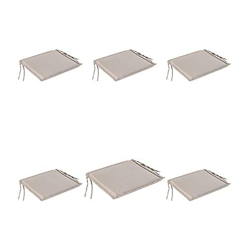 Pack 6 Cojines jardín para sillas Plegables Color Lux Capuccino, Tamaño 40x42x3 cm, Repelente al Agua, Desenfundable
