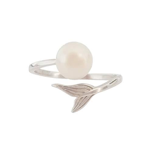 regalo del día de la madre ELAINZ HEART anillos de perlas de plata de mujer de moda de ley ajustables para novia,La Sirena anillo de plate 925 de finos 7-8mm perla blanca