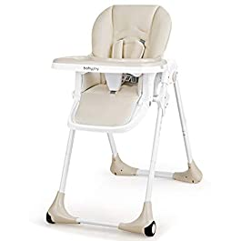 BABY JOY Convertible High Chair for Babies & Toddlers, Height Adjustable, Grow & Go High Chair w/Recline & Footrest, Removable Dishwasher Safe Meal Tray, Portable Baby Dinning Chair w/Wheels