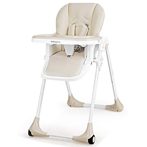 BABY JOY Convertible High Chair for Babies & Toddlers, Height Adjustable, Grow & Go High Chair w/Recline & Footrest, Removable Dishwasher Safe Meal Tray, Portable Baby Dinning Chair w/Wheels (Beige)