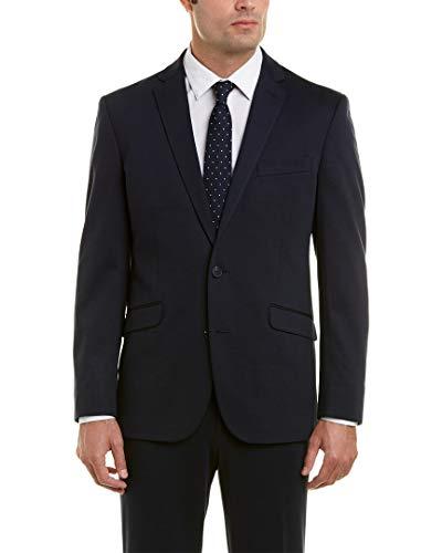 Kenneth Cole REACTION Men's Knit Slim Fit Suit with Hemmed Pant, Navy, 44 Regular