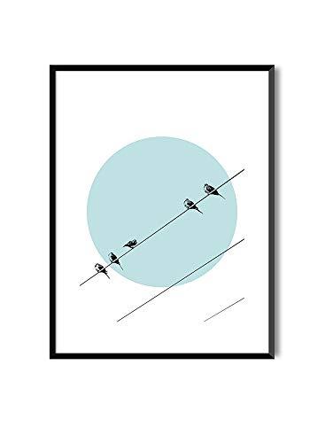 MILUKA Láminas Decorativas para enmarcar colección Birds AT Sunset | Waiting Until Night | Tamaño 20x30cm, 30x40cm, 50x70cm (20 x 30 cm)