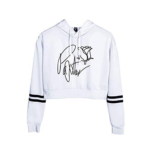 Vrouw Sweatshirt met Lange Mouwen en Capuchon Streepprint Payton Moormeier Hip Hop Crop Top Swag Tuniek Herfst Winter Truien met Ronde Hals Sportjas Uitloper