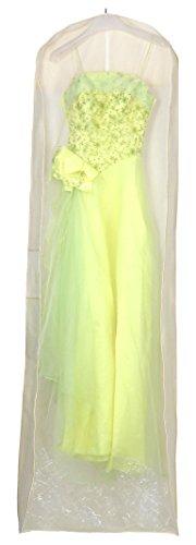 HIMRY® Sacca porta abiti traspirante, per vestiti da sposa / vestiti da sera / vestiti / giacche / cappotti , circa 180 cm, cerniera - beige, KXB105 Beige
