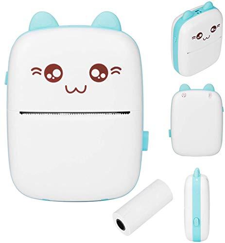 Mini-Taschen-Drucker, kabelloser Bluetooth-Fotodrucker, Etikett, Memo-Belegpapier, tragbarer Smart-Thermodrucker, geeignet für Handys (blau)