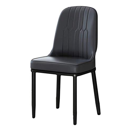 Faux Leather Dining Chair Modern Style Dining Chair Cushioned Soft Seat with Sturdy Black Metal Legs Home Furniture Easy Assembly (Color : Black, Size : Black Legs)