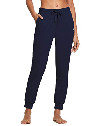 BALEAF Women's Cotton Sweatpants Lightweight Joggers Pants Tapered Active Yoga Lounge Casual Pants with Pockets Navy Blue Size S