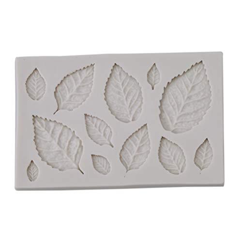 Flybloom DIY Blätter Form Silikonformen Schokolade Fondant Sugarcraft Plätzchenform Kuchen Dekor Backen Werkzeuge, Weiß