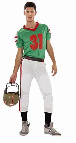 CRAZY THE PARTY, SL Grünes Rugbyspieler-Kostüm für Erwachsene M/L