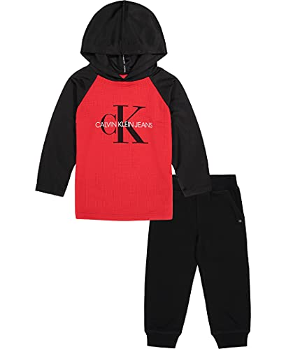 Calvin Klein Boys' 2 Pieces Hooded Pant Sets, Barbados Cherry/Deep Black/Cloud gate, 6